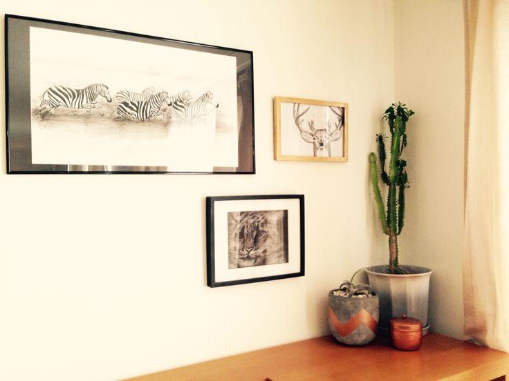 Dining room wall - animal drawings