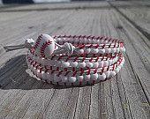 Baseball inspired triple wrap bracelet