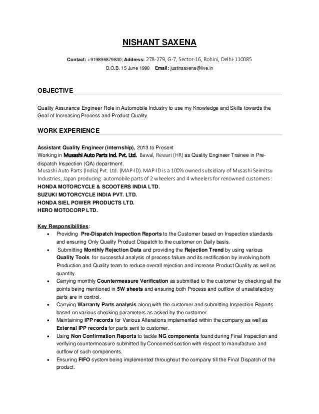 Resume Format Quality Engineer 2-Resume Format Engineering