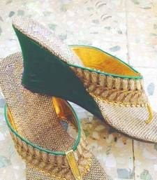 Buy green plain jute footwear footwear online