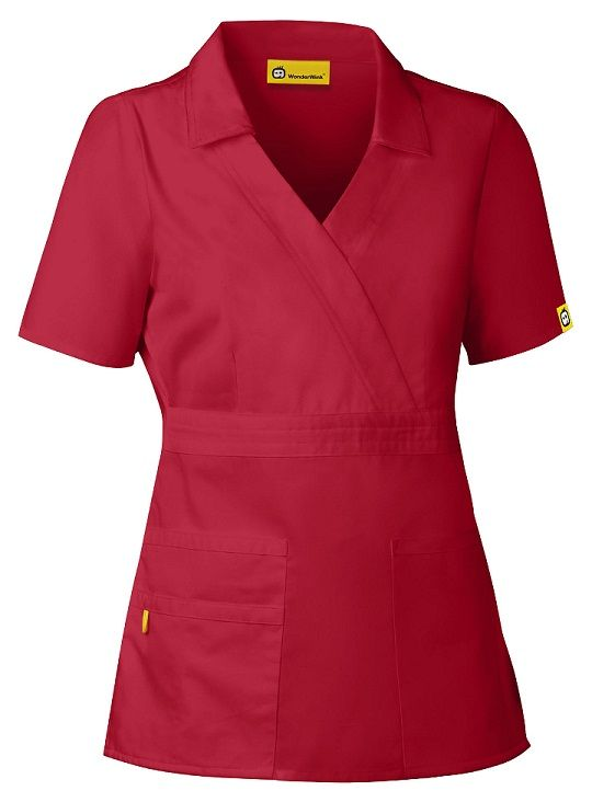 """The Echo Ladies Fit Collared Scrub Top by WonderWink Scrubs. """"I ordered this top in red and just received. I usually wear small or extra small and it fit perfect. I also ordered the romeo pants and they are great too. Nice sturdy fabric. Will probably order more."""""""