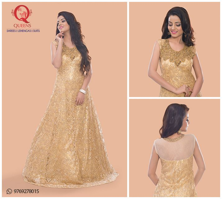 A beautiful golden gown for a beautiful you.  #QueensEmporium #DesignerWear #Gown
