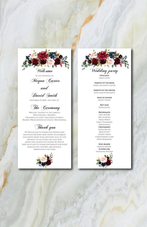 burgundy and navy flowers editable wedding program template marsala