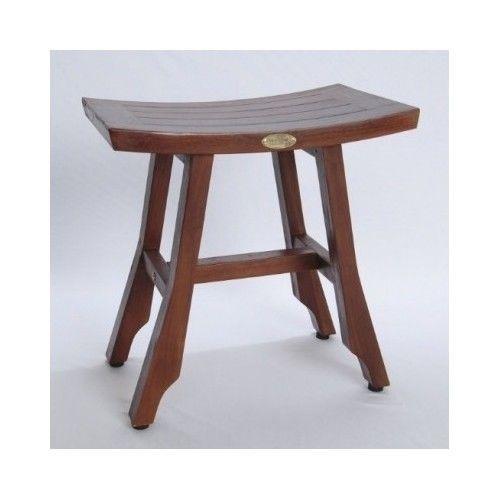 Teak Shower Stool Spa Wood Seat Asian Bench Bath Adjustable Outdoor Indoor Patio #Asian