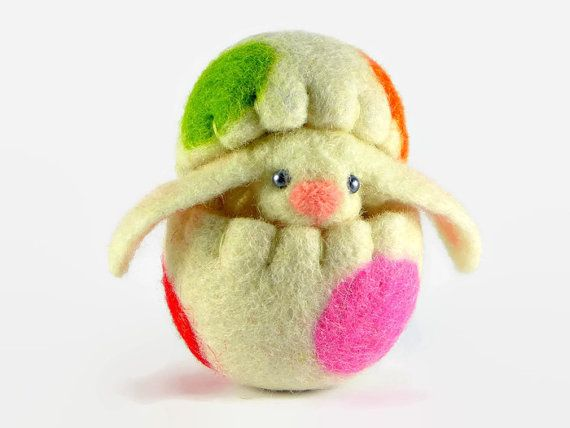 Easter Bunny in a Wool Easter Egg - Miniature Easter Decoration - White Bunny - Easter Eggs