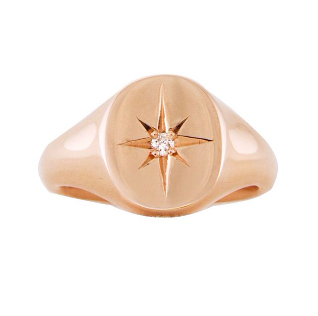 14kt gold and diamond Starburst signet ring – Luna Skye by Samantha Conn
