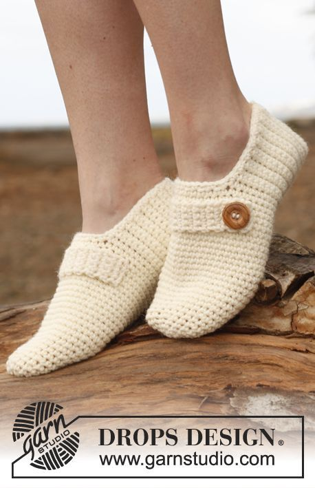 Crochet DROPS slippers with strap and button
