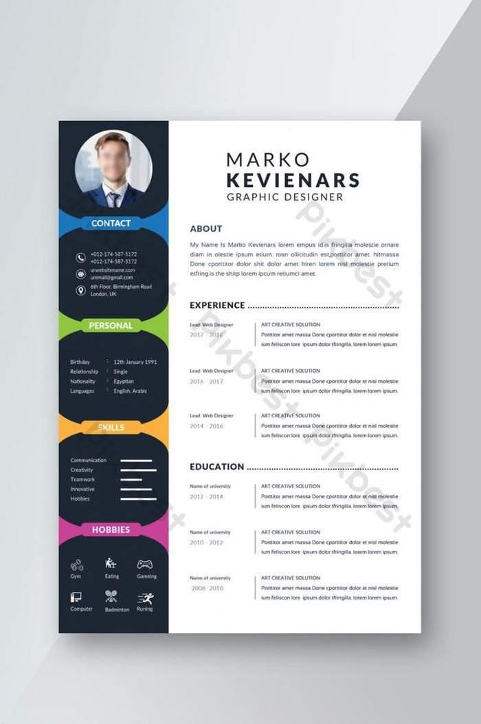 Coloful Cv Resume Template Doc Free Download Pikbest In 2021 Cv Resume Template Resume Template Personal Resume