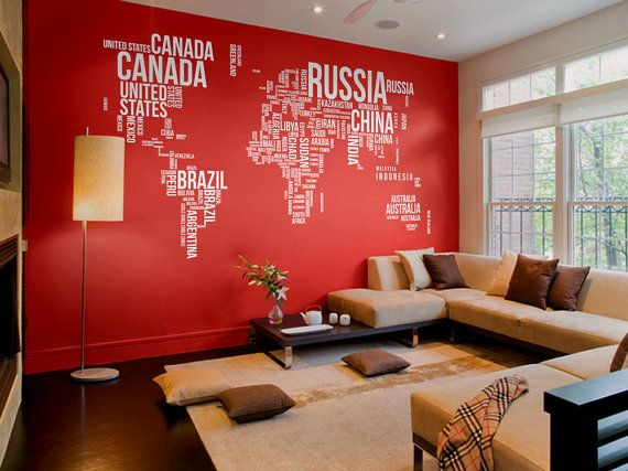 Text map 130'' W wall decal office home decor by WorldMaps on Etsy