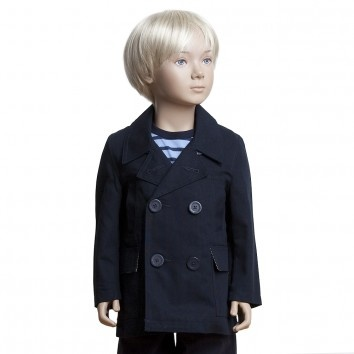 Petit Bateau Boys Dark Blue Cotton Pea Coat at Childrensalon.com