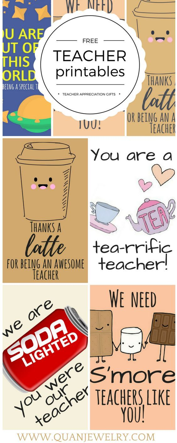 Teacher appreciation thank you cards and gift tags that you can download, customize, and print for free. #teacher #teachergifts