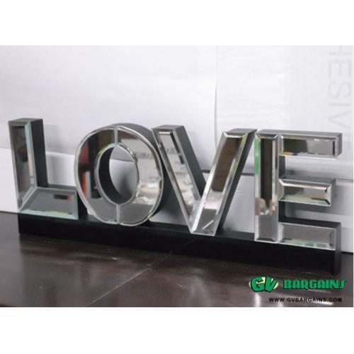 Fashion Design Wall Decor ~ Black Stereo Mirror Word 'LOVE'