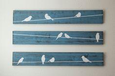 Sticker rustique - oiseaux sur un fil 3 pces, gros