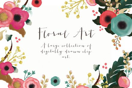 Folk flower wreath antler mint dark ~ Illustrations on Creative Market
