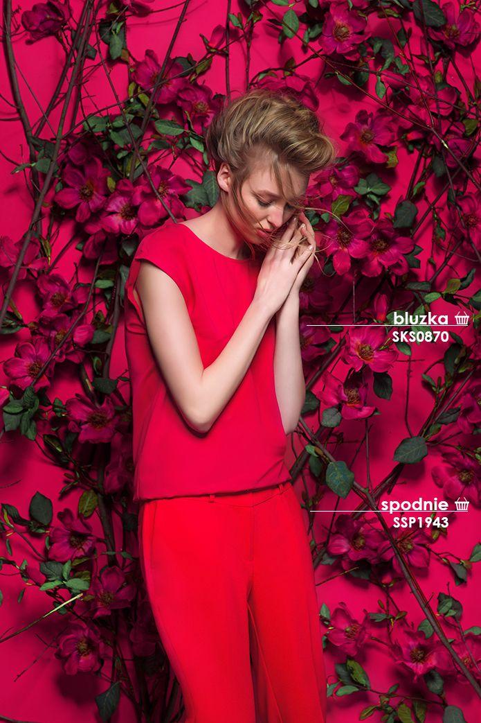 Różowe spodnie i elegancka bluzka damska #topsecret