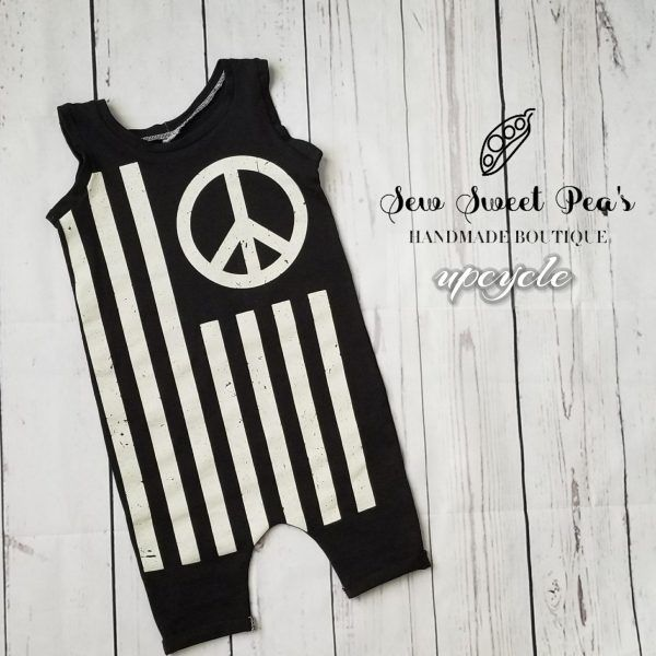 e07d252a3489 peace flag up-cycled romper size 18-24 months