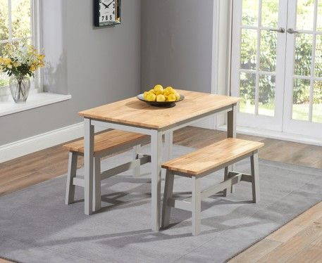 Shop The Chiltern Oak And Grey Dining Table Set With Benches At Furniture Superstore Quick Delivery APR Available
