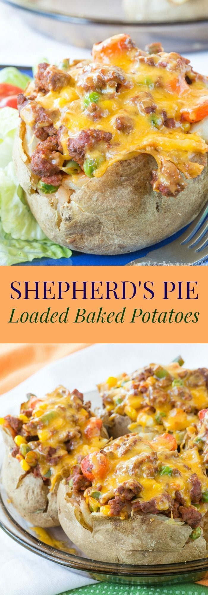 Shepherd's Pie Loaded Baked Potatoes - a fun and easy twist on a classic recipe with a simple beef and vegetable filling for stuffed baked potatoes. | cupcakesandkalech... | gluten free