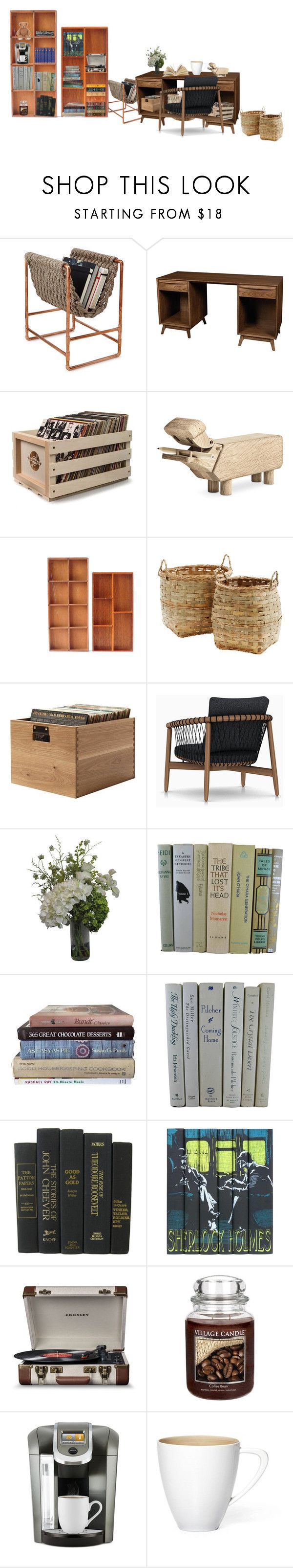 """""""Dream office"""" by spencersnape ❤ liked on Polyvore featuring DutchCrafters, Crosley Radio & Furniture, Kay Bojesen, Abigail Ahern, Canterbury, Crosley, Village Candle and Keurig"""