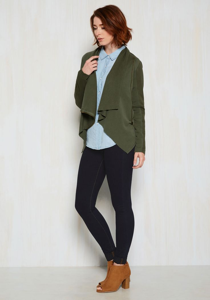 Return Trip Reunion Jacket in Olive. With a long travel day ahead, you dress comfortably in this olive jacket, knowing your friends and fam will wrap their arms around its soft knit oh-so-soon! #green #modcloth