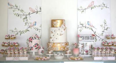 Shower Fantasy Elegant Gold Bird Themed Dessert Table Dessert Tables