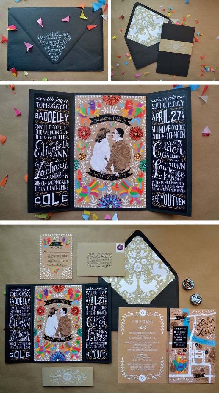 Danielle Mousley fotografió estas coloridas y alegres invitaciones ilustradas por Elizabeth Baddeley. Un diseño cuadrado para el save the date y un formato tríptico para el diseño de las invitaciones de boda.