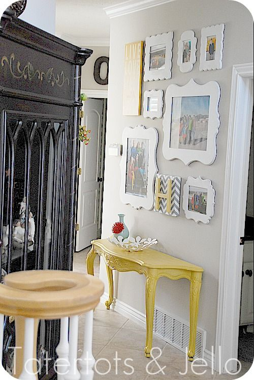 family-gallery-wall with a link where to purchase the fun unfinished frames! (wall color, Martha Stewart Sharkey Grey)