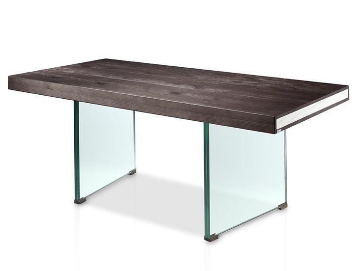 mesa de comedor con tapa de madera combinada con patas de cristal furniture evolucin pinterest