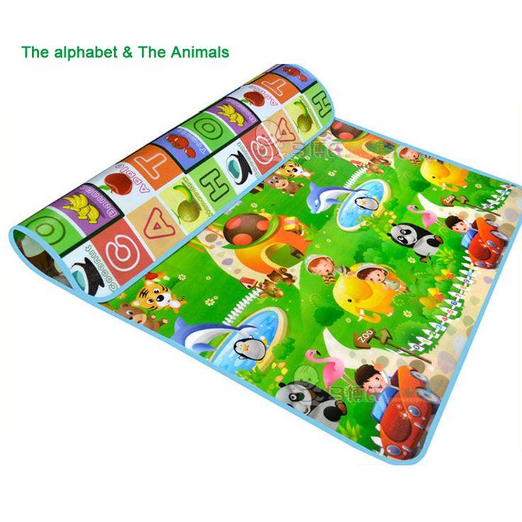 1.5 메터 * 1.8 메터 두 측면 알파벳 아기 매트 과일 동물 유아 크롤링 매트 바닥 교육 개발 유아 아기 장난감 카펫 패드