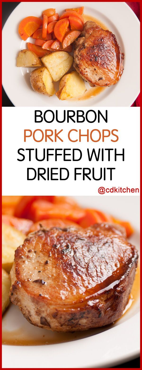 Bourbon Sauced Pork Chops Stuffed With Dried Fruit - Recipe is made with water, beef stock, dried apricot, fresh parsley, raisins, garlic, bourbon, salt, cayenne pepper, pork chops | CDKitchen.com