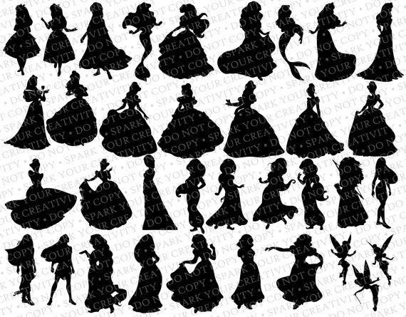 Sagome principessa Disney / / 35 sagome / / Disney Principesse Silhouette / / Clipart Disney / / Principessa sagome
