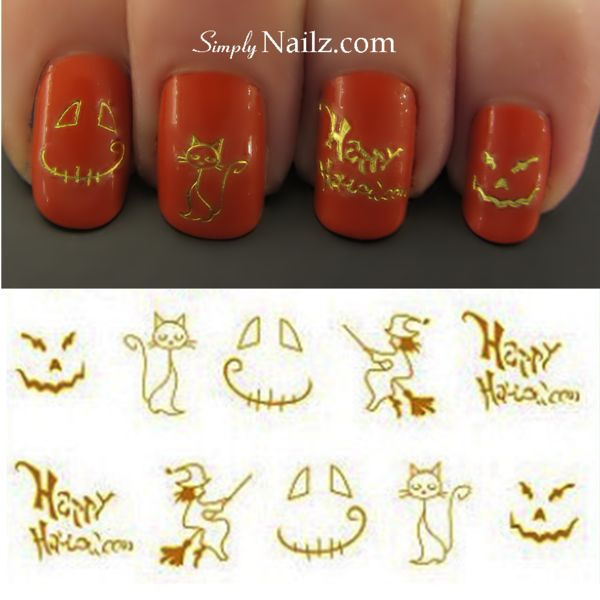 gold halloween nail decals tutorial and shop free worldwide delivery