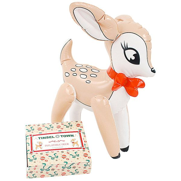 Add some cute wildlife to your Christmas decor! This Inflatable Reindeer resembles the lovable doe from the Rudolph TV specials, and she's ready to cheer on the young bucks at the Reindeer Games. She's a simple and charming holiday decoration that you can deflate and store when it's time to pack everything away for next year.