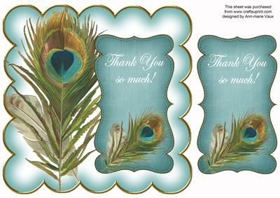 Teal Peacock Thank You 8in Scallop Topper on Craftsuprint - Add To Basket!