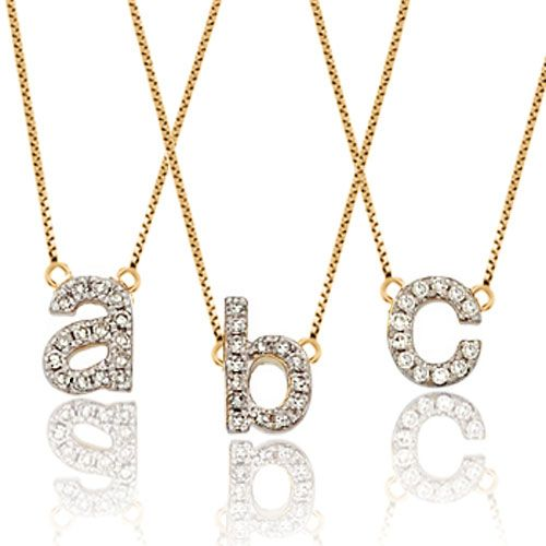 Three Initial Custom Made Any Letter Gold Plated Link Necklace Pendant Pugster.com
