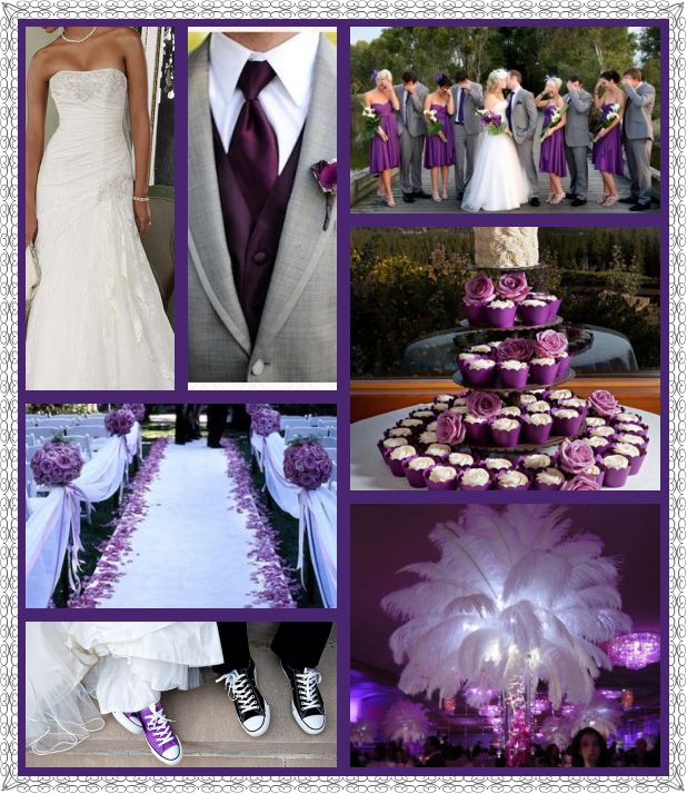 Purple and Grey Wedding this looks like what my wedding looked like!!!! Down to the same shades of grey and purple