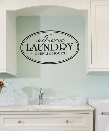 Great for my laundry room! :) Take a look at this Black 'Laundry' Wall Decal by Wallquotes.com by Belvedere Designs on #zulily today!