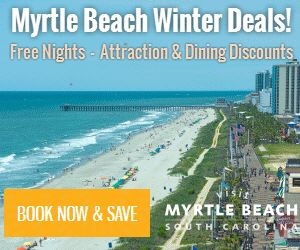 Visit Myrtle Beach   Plan a trip to Visit Myrtle Beach and take a look at all the Winter Deals. Pay for 2 nights and receive a 3rd night FREE at Ocean Creek Resort. For a limited time arrive between 1/1/16 –3/31/16 and stay 4 or more nights and receive 2 tickets to Brookgreen Gardens from Sea Crest Oceanfront Resort.