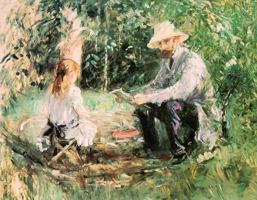 Берта Моризо. Эжен Мане с дочерью в саду1883