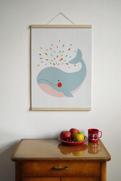 Poster DIN A2  Das wunderschöne Poster mit Wal-Motiv ist der Hingucker fürs Wohn- oder Kinderzimmer. Ein tolles Geschenk zur Geburt, Taufe oder zum Geburtstag!  Die von uns entworfene...