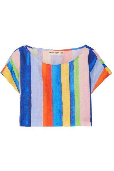 Mara Hoffman - Striped Organic Linen Top - Blue - medium