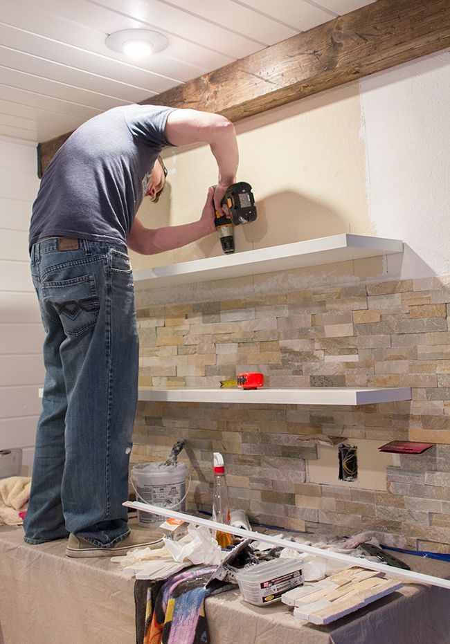 Kitchen Chronicles Stacked Stone Bar Wall Amp Diy Floating Shelves Floating Shelves Diy