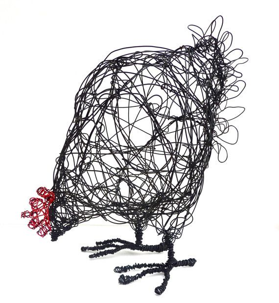 Wire Hen Sculpture PDF instructions & template by ArtyWoho on Etsy