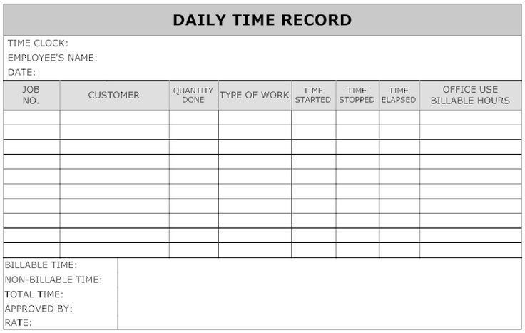 Example Image Daily Time Record Work Timesheet
