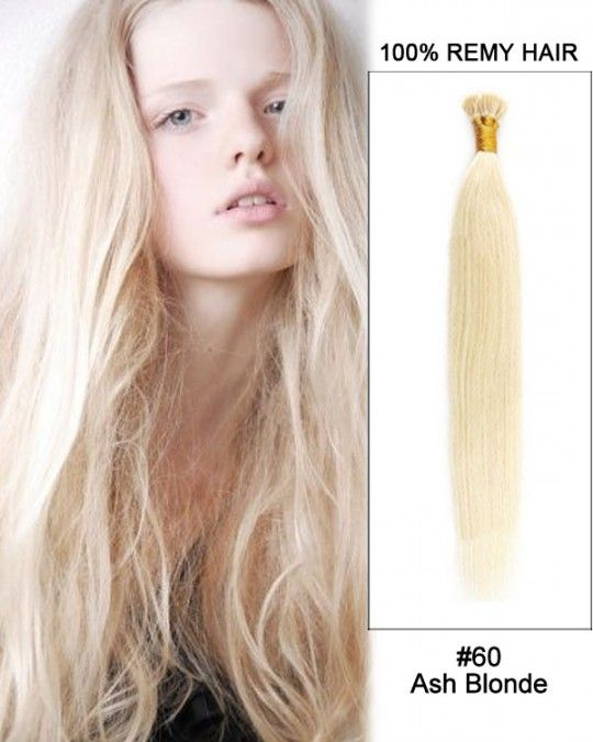 Wholesale 18'-24' #60 Ash Blonde Straight 100% Remy Human Hair I Tip Pre Bonded Hair Extensions