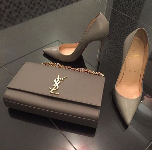 ysl bag with pump heels