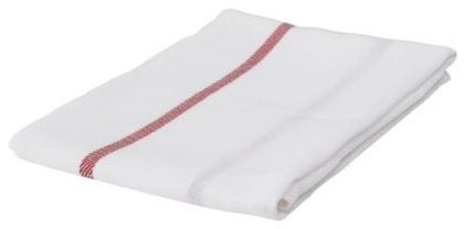traditional dishtowels by IKEA that cost 79cents ea. so you can buy to use as table napkins.....great idea.