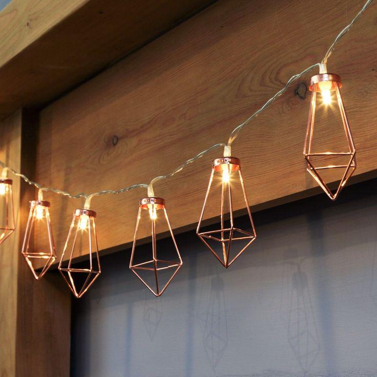 Rose Gold Metal Battery Lantern String Lights, 10 Warm White LEDs