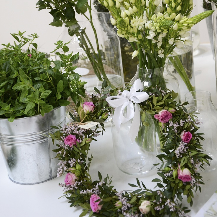 Wild flower bouquets and wreaths.