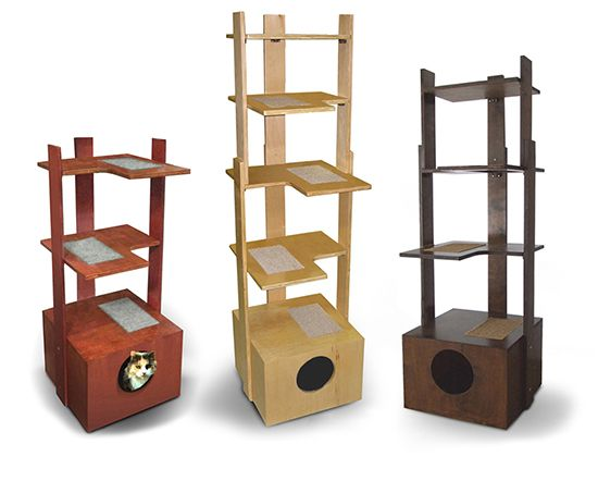 PurrfecTrends Cat Tower Provides Alternative to Carpet Covered Cat Trees